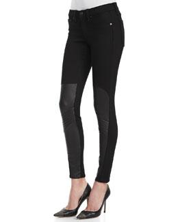 rag & bone/JEAN Samurai Leather-Patch Leggings