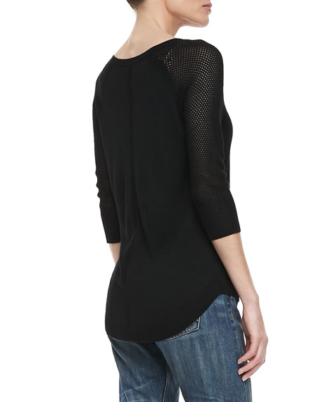 Lexie Perforated 3/4-Sleeve Sweater