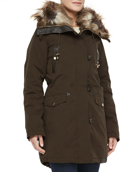 Hooded Faux-Fur Convertible Coat