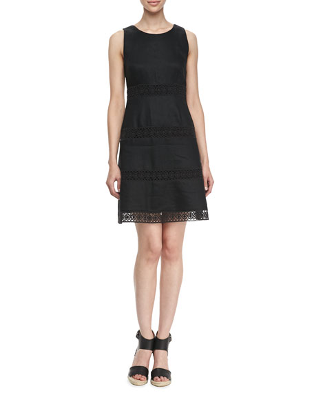 Sleeveless Fit and Flare Dress, Black