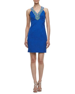Laundry by Shelli Segal Beaded V-Neck Sleeveless Jacquard Dress, Tide Pool Blue