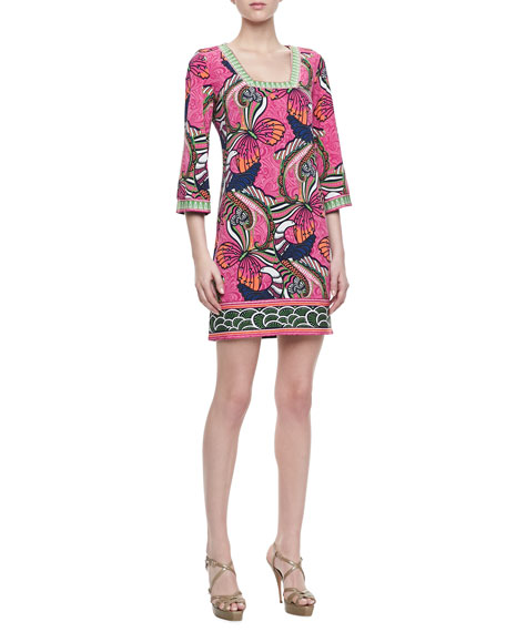 Print Square Neck Jersey Dress, Multicolor