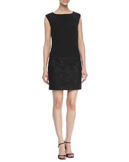 Laundry by Shelli Segal Boat-Neck Wedge Lace Dress, Black