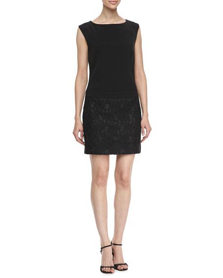 Boat-Neck Wedge Lace Dress, Black