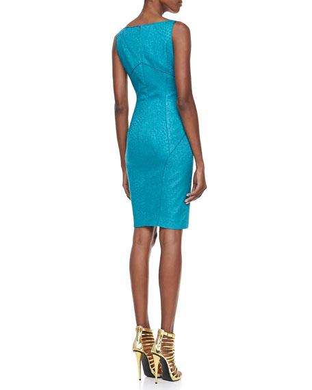 Snakeskin Jacquard Sleeveless V-Neck Party Dress, Green