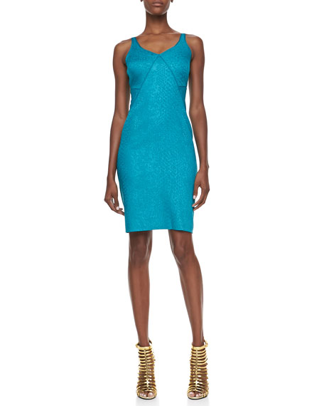 Snakeskin Jacquard Sleeveless V-Neck Party Dress, Green