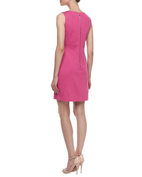 Sleeveless Ponte Keyhole-Front Dress, Flower