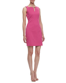 Laundry by Shelli Segal Sleeveless Ponte Keyhole-Front Dress, Flower