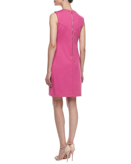 Ponte Zip-Pocket Sheath Dress, Flower