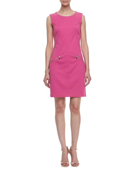 Ponte Zip-Pocket Sheath Dress, Flower