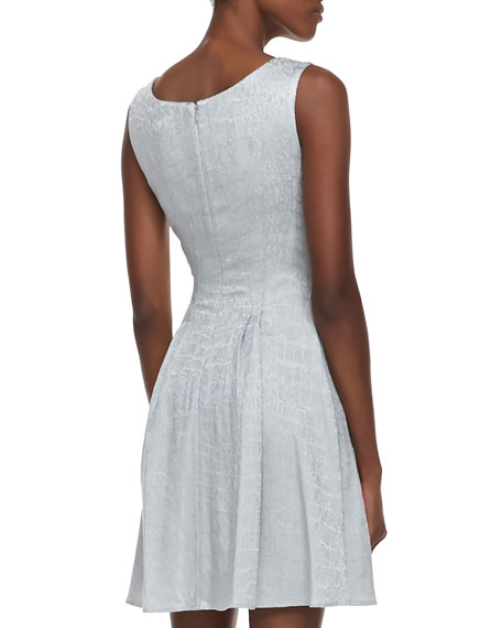 Jacquard Sleeveless Flared Party Dress, Silver