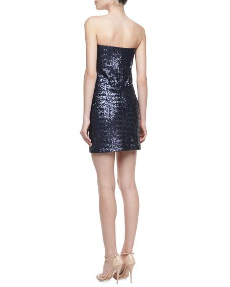 Strapless Sequin Dress, Night Blue