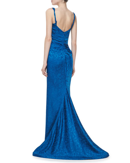 Embroidered Sweetheart Sleeveless Gown, Blue