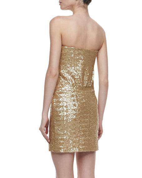 Strapless Sequin Dress, Gold