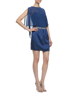 Laundry by Shelli Segal Beaded Waist Cape Dress, Night Blue