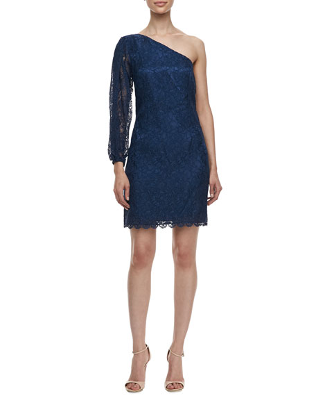 One-Shoulder Lace Dress, Night Blue
