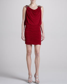 Laundry by Shelli Segal Embellished-Shoulder Dress, Vixen