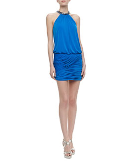 Laundry by Shelli Segal Embellished Halter Shirred Skirt Dress, Caribbean Blue