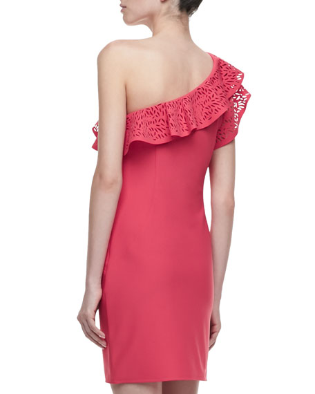 One-Shoulder Cutout Ruffle Dress