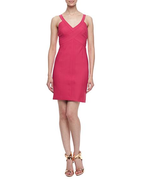Sleeveless Pleated Bodice Travel Dress, Paradise Pink