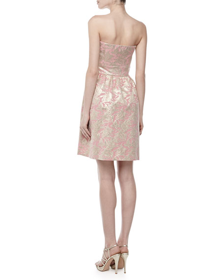 Strapless Jacquard Fit & Flare Dress