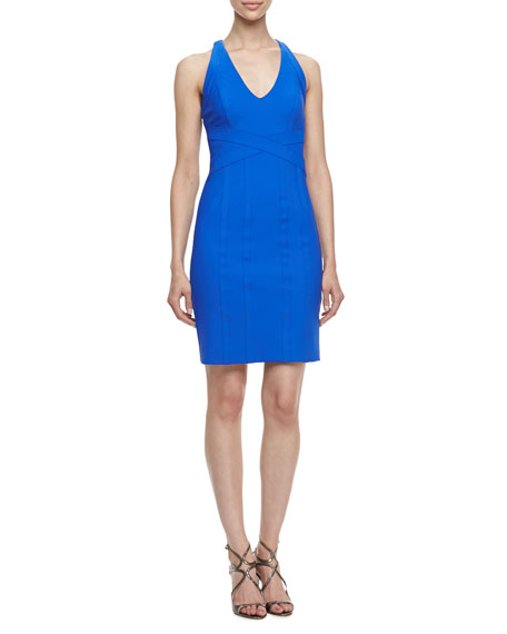 Sleeveless Crisscross Waist Travel Dress, Tide Pool Blue