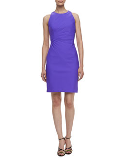Laundry by Shelli Segal Sleeveless Pleated Travel Dress, Bright Violetta