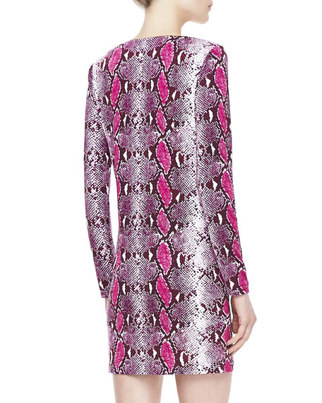 Reina Long-Sleeve Python Pop Dress