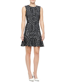 Diane von Furstenberg Carlie Printed Fit-and-Flare Dress, Black/White