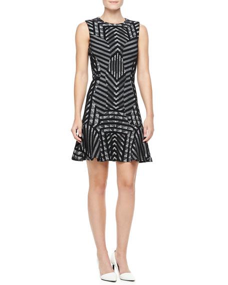 Diane von Furstenberg Carlie Printed Fit-and-Flare Dress, Black/White