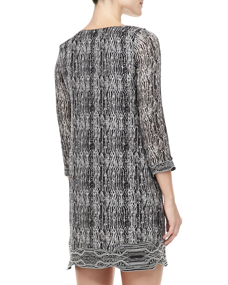 Lexie Printed Scallop-Neck Dress, Black/Gray/White