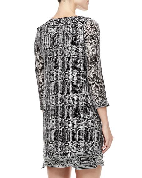 Lexie Printed Scallop-Neck Dress, Black/Gray/White