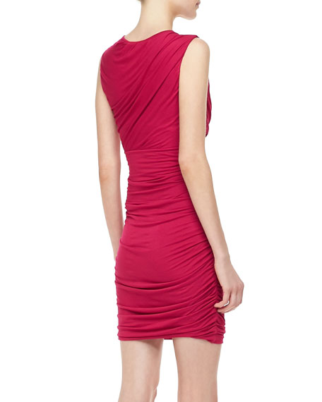 Angelina Short-Sleeve Ruched Dress, Pink