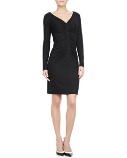Diane von Furstenberg Greece Long-Sleeve Ruched Dress