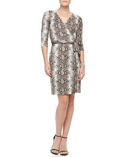 Diane von Furstenberg New Julian Two Python-Print Silk Jersey Dress