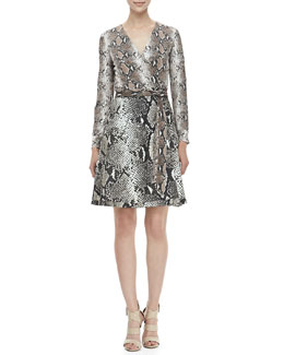 Diane von Furstenberg Amelia Python-Print Fit-and-Flare Dress