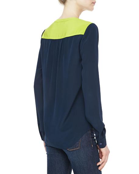 Maisy Long-Sleeve Two-Tone Top