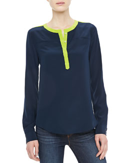 Diane von Furstenberg Maisy Long-Sleeve Two-Tone Top