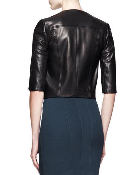 Petal Cropped Leather Jacket
