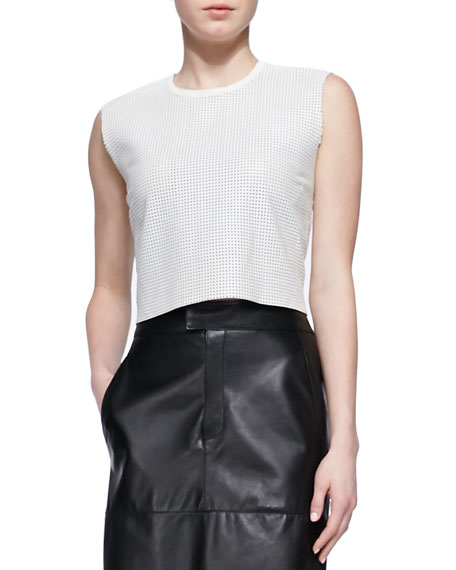 Sift Perforated Leather Crop Top
