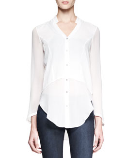 Helmut Lang Lawn Buttoned Sheer-Panel Shirt