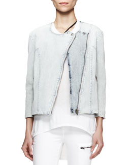 Helmut Lang Faded Denim Moto Jacket, Sky