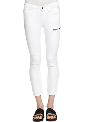 Cropped Zip-Pocket Moto Jeans