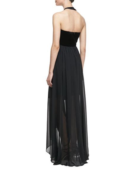 Velvet & Jersey Beaded Cutaway Gown