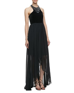 Laundry by Shelli Segal Velvet & Jersey Beaded Cutaway Gown