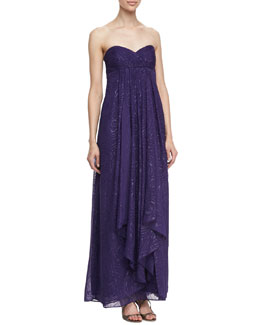 Laundry by Shelli Segal Clipped Swirl Allover Sequins Convertible Straps Sleeveless Gown