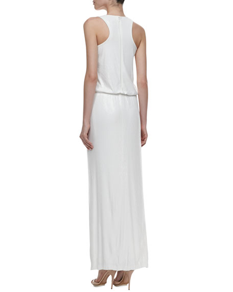 Racer Back Sequin Blouson Gown, Pearl