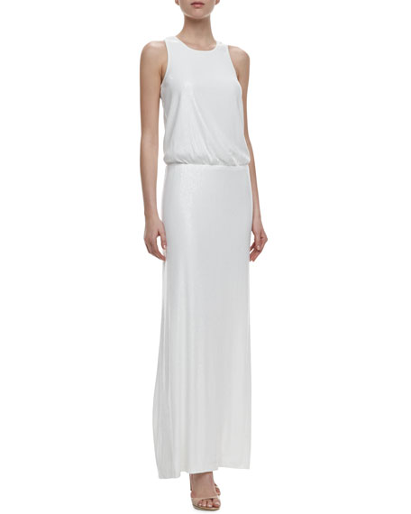 Laundry by Shelli Segal Racer Back Sequin Blouson Gown, Pearl