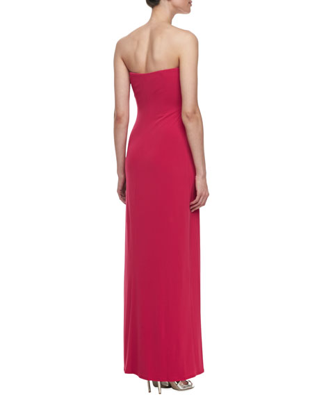 Strapless Gown with Shirring Detail, Paradise Pink