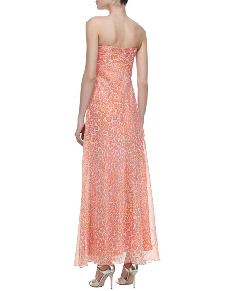 Cascading Print Detachable-Straps Gown